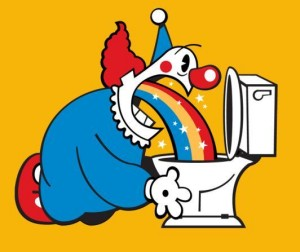 cartoon clown throwing up