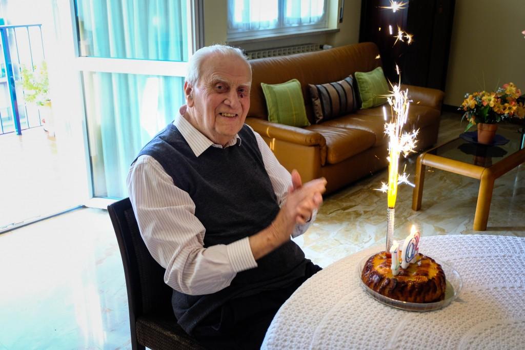 102 anni il più anziano di Colognola: molta cyclette e cioccolatini