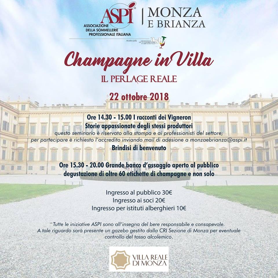 Alla Reggia di Monza, i grandi assaggi di Aspi: «Champagne in villa. Il perlage reale»