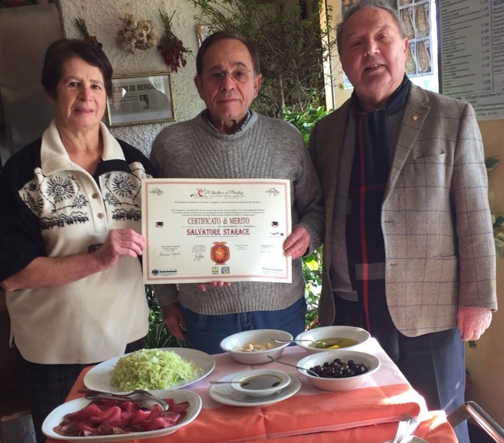 Certificato di merito per Salvatore Starace