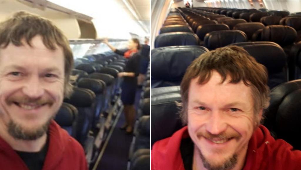 Da solo sul volo Ryanair per Orio: il selfie di un lituano