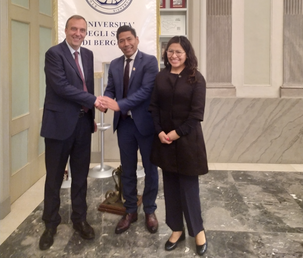 Il rettore incontra l'ambasciatore e la console della Bolivia