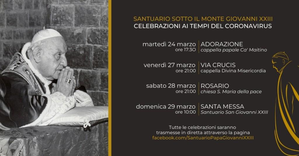 Momenti di preghiera condivisi dal Santuario San Giovanni XXIII