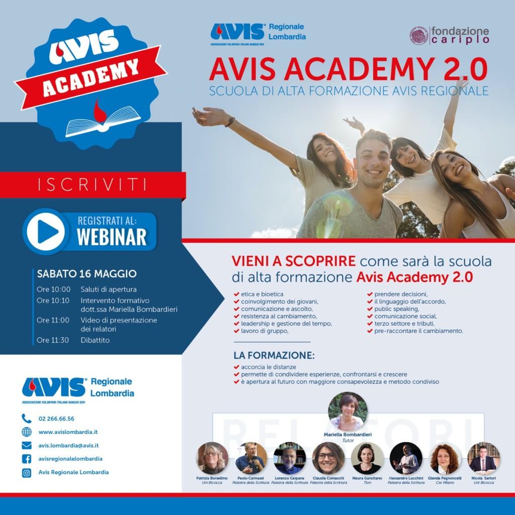 Dal 16 maggio Avis Academy 2.0 sbarca sul web